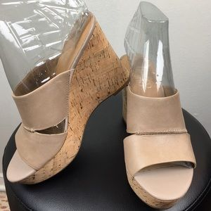 Franco Sarto Tan Platform Wedge Leather Sandals